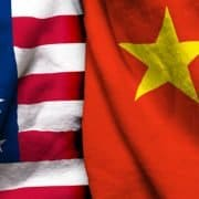 China versus US flags