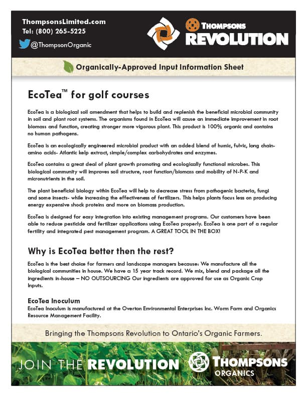 Thompsons EcoTea for golf courses brochure cover
