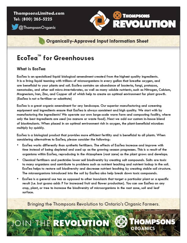 Thompsons EcoTea for greenhouse document