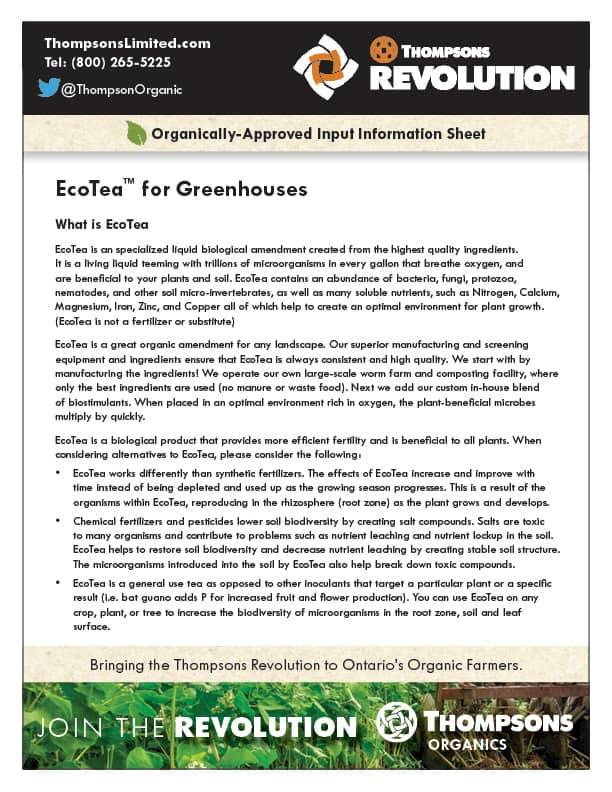 Thompsons EcoTea for greenhouse document