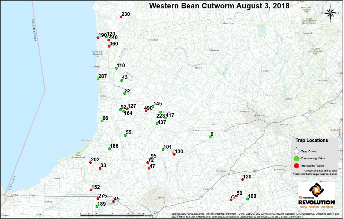 Thompsons Western Bean cutworm traps map north area August 3