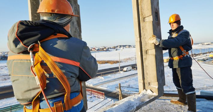working in winter conditions photo