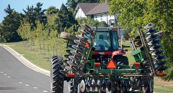 Farm equipment on the road